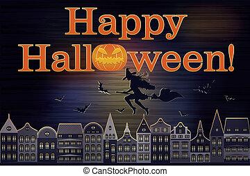 Happy Halloween postcard, vector