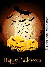 Happy Halloween Poster. Grungy Illustration.