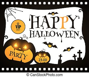 Happy Halloween Poster Template. Spooky Party Flyer with Pumpkin and Bats. Vector illustration