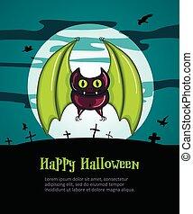 Happy Halloween Poster with Bat