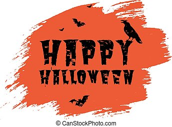 Happy Halloween Poster With Blot Transparent Background