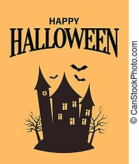Happy Halloween Poster with Closeup Creepy House