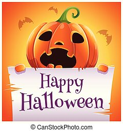 Happy Halloween poster with scared pumpkin with parchment on orange background. Happy Halloween party.
