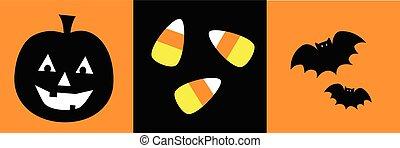 Happy Halloween Pumpkin Candy Corn Bats