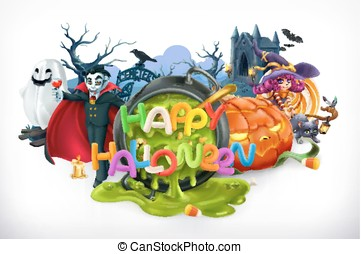 Happy Halloween. Pumpkin, cat, witch, vampire, crypt and...