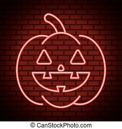 happy halloween pumpkin in neon light