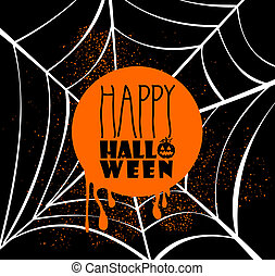 Happy Halloween pumpkin lantern and text inside orange circle over spider web banner with grunge background. EPS10 Vector file organized in layers for easy editing.