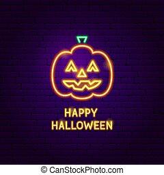Happy Halloween Pumpkin Neon Label