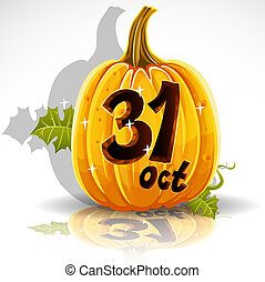 Happy Halloween pumpkin October 31 - Happy Halloween font ...