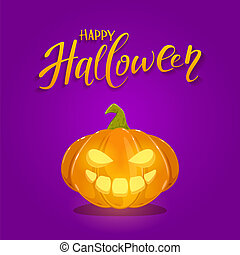 Happy Halloween Pumpkin on Purple Background