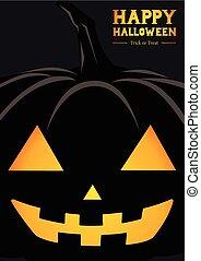 happy halloween pumpkin silhouette greeting