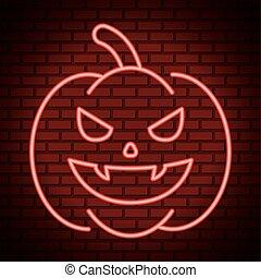 happy halloween pumpkin with dracula teeth in neon light