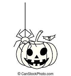 happy halloween pumpkin with spider and bat