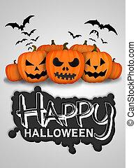 Happy Halloween Pumpkins White Background Card