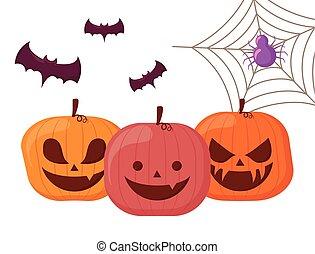 happy halloween pumpkins with bats and spider