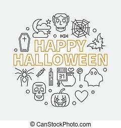 Happy Halloween round vector outline minimal illustration