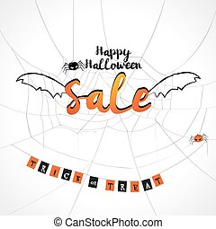 Happy Halloween sale background with flying sale bat wings on spider web with trick or treat wording