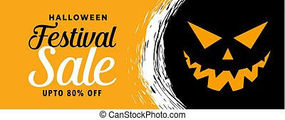 happy halloween sale banner with scary face