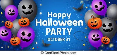 Happy Halloween sale banner with scary face ghost balloons, orange pumpkins, bats and gold glitter decors on dark background. Template for greeting card, brochure or poster.