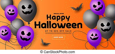 Happy Halloween sale banner with scary face ghost balloons, orange pumpkins, bats and gold glitter stars on orange background. Template for greeting card, brochure or poster.