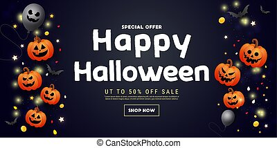 Happy Halloween sale banner with scary face orange pumpkins, balloons, bats and gold glitter decors on dark background. Template for greeting card, brochure or poster.