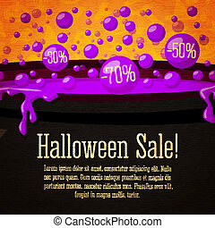 Happy halloween Sale cute retro banner on the craft paper texture. Black witch cauldron boiling violet potion, with sale marks in bubbles, place for your text. Vector.