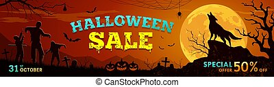 Happy Halloween sale vector, howling wolf on the moon rough surface design