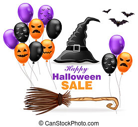 Happy Halloween sale with witch hat and colorful balloons Vector illustrations