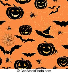 Happy Halloween seamless pattern. Holiday party background with bat, pumpkin, web, spider
