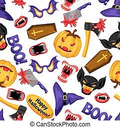 Happy Halloween seamless pattern with cartoon holiday symbols