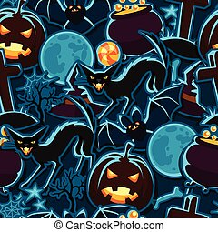 Happy halloween seamless pattern with stickers characters and objects