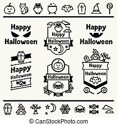 Happy halloween set of badges and icons.