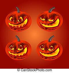 Happy Halloween set pumpkins vector