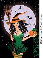 Happy Halloween. Sexy night witch