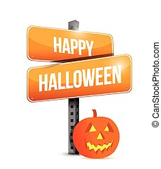 happy halloween sign illustration design