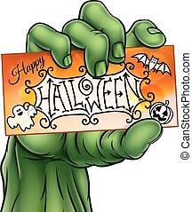 Happy Halloween Sign Monster Zombie Hand