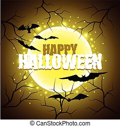 Happy Halloween sign on moon