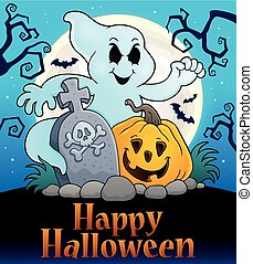 Happy Halloween sign with ghost subject - eps10 vector...