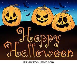 Happy Halloween sign with pumpkins 2