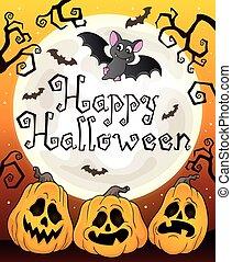 Happy Halloween sign with pumpkins 3