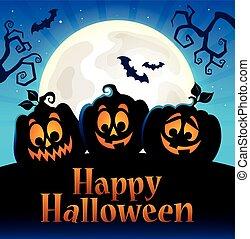 Happy Halloween sign with pumpkins 5