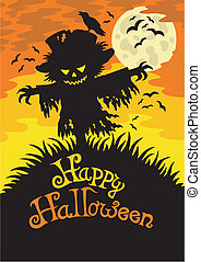Happy Halloween sign with scarecrow