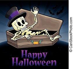 Happy Halloween sign with skeleton