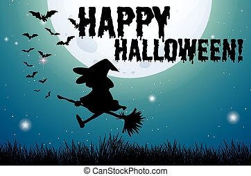 Happy halloween sign with witch on broom