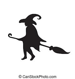 Happy Halloween. Silhouette of a witch flying on a broomstick on a white isolated background. Vector image