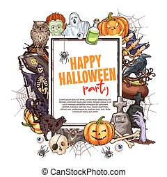 Happy Halloween sketch frame for greeting card