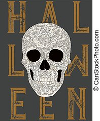 Happy Halloween Skull vector.