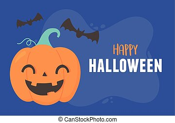 happy halloween smiling pumpkin and flying bats cards