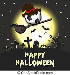 Happy Halloween. Soccer ball with witch hat on a broomstick against the background of the moon. Pattern for banner, poster, greeting card, flyer, party invitation. Vector illustration