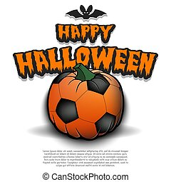 Happy Halloween. Template football design. Soccer ball in the form of a pumpkin on an isolated background. Pattern for banner, poster, greeting card, flyer, party invitation. Vector illustration